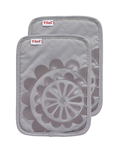 (T-fal Textiles 97165 2-Pack Medallion Design 100-Percent Cotton Silicone Pot Holder, Gray)