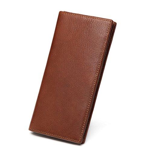 Big Bill Bi Fold Wallet (MONHINTY Men's Genuine Leather Multi-Card Long Bifold Wallet Brown)