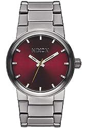 Nixon Cannon Watch - Men's Gunmetal/Deep Burgundy, One Size