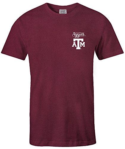 NCAA Texas A&M Aggies Adult NCAA Sketchbook Comfort Color Short sleeve T-Shirt, Large,Maroon