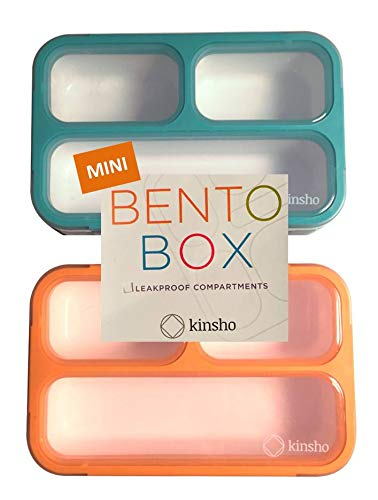 MINI Lunch-Box Snack Containers for Kids   SMALL Bento-Box Portion Container   Toddler Pre-School   Leak-proof Boxes for Work, Travel   Best for Adults Boys or Girls   Blue + Orange Set of 2]()