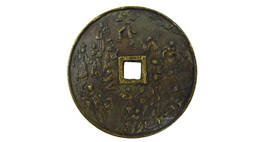 Magic brass amulet coin symbol antique wealth rich & success Thai traditional with amulet (Thailand Traditional Costume Name)