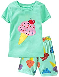 c2d58f94bc Little Girls Pajamas Short Sleeve 100% Cotton Toddler Pjs Clothes Sleepwear  Sets Size 2 to