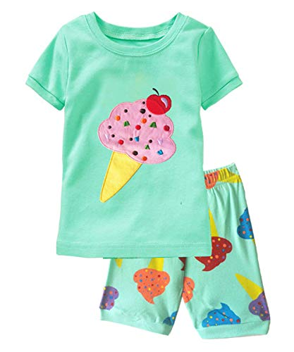 (Little Girls Pajamas Kids Short Sets 100% Cotton Children Summer Clothes Toddler Sleepwear 2pcs(Ice cream-72)