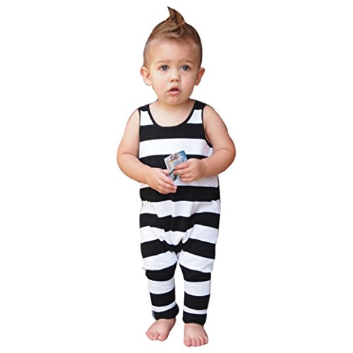 Vovotrade Newborn Baby Boys Girls Bodysuit Sleeveless Striped Romper Jumpsuit Clothes Outfits (24M, (Thin Striped Onesie)