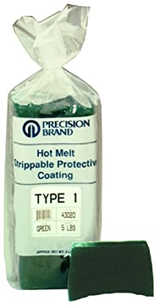 Precision Brand Type 1 Hot Melt Strippable Protective Coating, Transparent Clear Color, 5 Pound Package