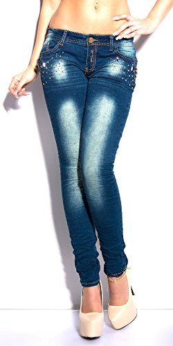 Pantalone Strass Blue Blanco Store Donna Stretch Borchie Skinny Denim Jeans E B1wqU