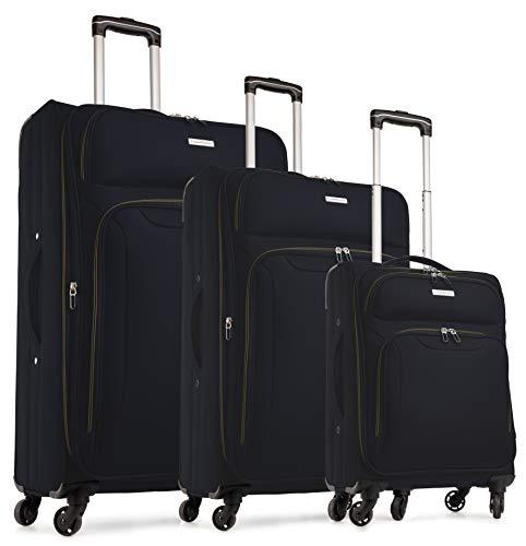 TravelCross Barcelona Luggage 3 Piece Lightweight Expandable Spinner Set - Black