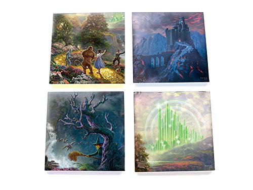 (Wizard of Oz Glass Coaster Set - Dorothy Scarecrow Toto Tinman Lion Wicked Witch Emerald City - Comes With Stylish Holder)