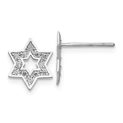 8mm Cubic Zirconia Star of David Post Earrings in 14k White Gold