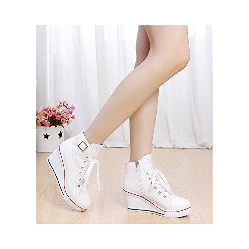 High Wedge Canvas Fashion Women's Shoes Sneaker 5 Pump heeled Ochenta White Platform 4a7Swxq