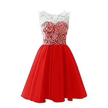 Coco Bridal Children Flower Girl Dress & Women's Short Tulle Prom Dress Dance Gown with Lace (6, Red)