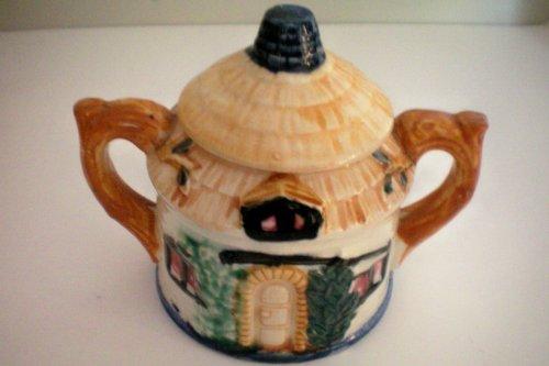 VINTAGE Handled Cottage Sugar Bowl w/ Lid -- marked