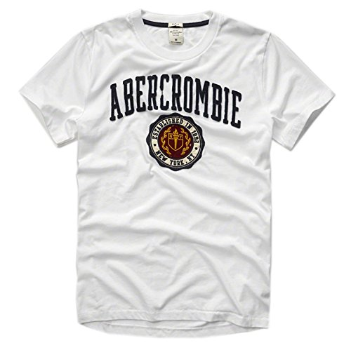 Abercrombie & Fitch Men Muscle Fit Applique Logo Tee (XL, White) (Muscle Abercrombie)