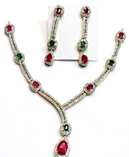 Shingar Jewelry Ksvk Jewels Women's Diamond Look Necklace Set In Ruby Emerald Colour