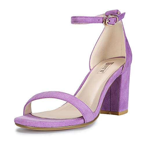 IDIFU Women's Cookie-MI Block Heels Sandals 3 Inch Chunky Open Toe Ankle Strap Wedding Dress Pump Shoes