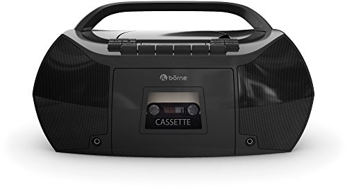 B—rne Prcdt550-bk Portable Boombox Cd Cassette player/recorder with Am/fm Radio aux-in