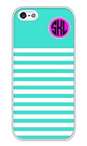 iZERCASE Monogram Personalized Turquoise Stripes Pattern iphone 5 / iPhone 5S case - Fits iphone 5, iPhone 5S T-Mobile, AT&T, Sprint, Verizon and International (White)