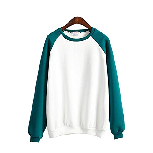 Felpa Felpa Crew Donna Verde Collo Collo Splicing lunghe Giacca Colore Sweater Maniche Hzjundasi scuro Giacca OFzxqwZF
