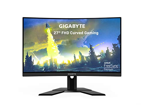 GIGABYTE G27FC 27 165Hz 1080P Curved Gaming Monitor, 1920 x 1080 VA 1500R Display, 1ms (MPRT) Response Time, 90% DCI-P3, FreeSync Premium, 1x Display Port 1.2, 2x HDMI 1.4
