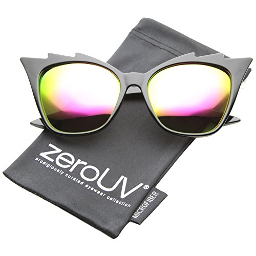 2 Staggered Eyes (zeroUV - Womens Fashion Jagged Edge Staggered Flash Mirror Lens Cat Eye Sunglasses (Black / Pink))