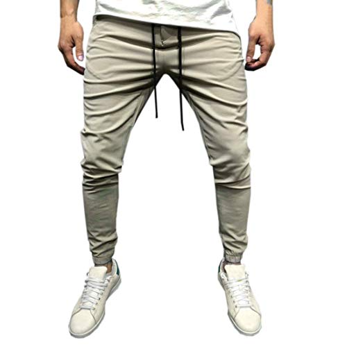al Sportwear Baggy Jogger Pants Slacks Sweatpants (Beige, M) ()