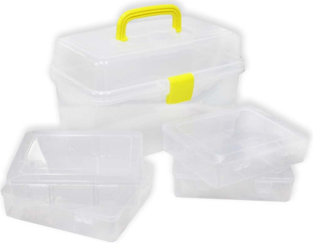 STOW AWAY: Large Plastic Storage Box With 4 Smaller Boxes Inside