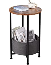 Industrial Round End Table Small Side Table Sofa Table with Removable Fabric Storage Basket Accent Table Home Office Round Bedside Table/Coffee Table/Bedroom Nightstand