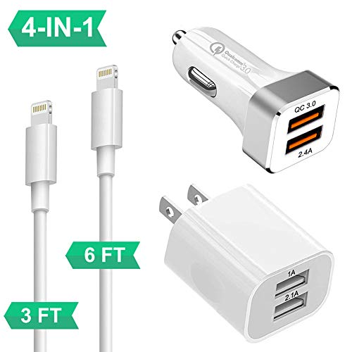 QC 3.0 Car Charger & Wall Charger, YouCoulee Fast Dual USB Car Charger Adapter QC 3.0 + 2.4A, Wall Plug Phone Chargers Block Cube 2 X MFI Certified Cables for iPhone 8/7/6/Plus/Xs/XS/Max/XR/X/iPad