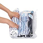 #LightningDeal 12 Travel Compression Bags, Hibag 12-Pack Roll-Up Space Saver Storage Bags for Travel, Suitcase Size (12-Travel)