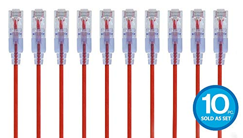 Monoprice Cat6A Ethernet Network Patch Cable - 25 Feet - Red | 10-Pack, 10G - SlimRun Series ()