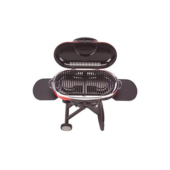Coleman Propane Grill | RoadTrip LXE Portable Gas Grill 10 Perfect Flow Pressure Control System for steady heat, even in the cold Portable grill sets up in seconds East to transport, folds to compact size with large handle and wheels for easy pulling