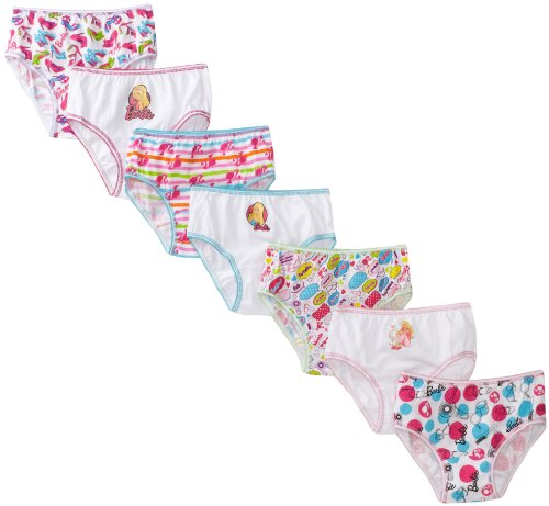 Handcraft Little Girls'  Barbie  Underwear Set (Pack of 7), Multi, - Panties Cotton Barbie