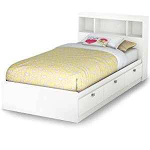 south shore south shore spark twin storage bed and bookcase headboard pure white twin pure white - White Bed Frame With Drawers