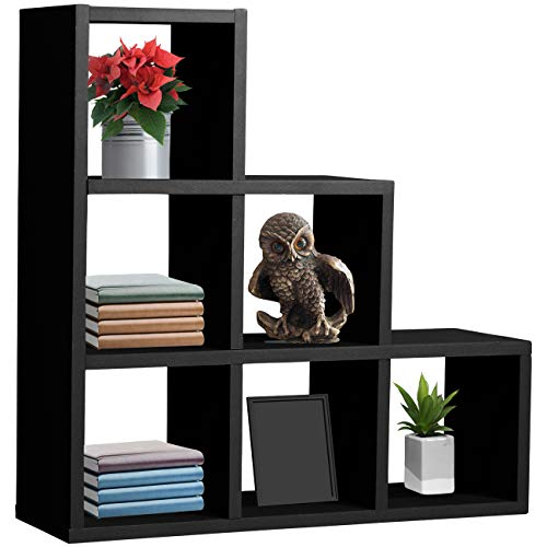 Sorbus Floating Shelf - Floating Shelf Stepped 6 Cubby - Stair Wall Shelf with 6 Openings, Decorative Hanging Display for Photo Frames, Collectibles, and Home Décor (Geometric Stepped - -