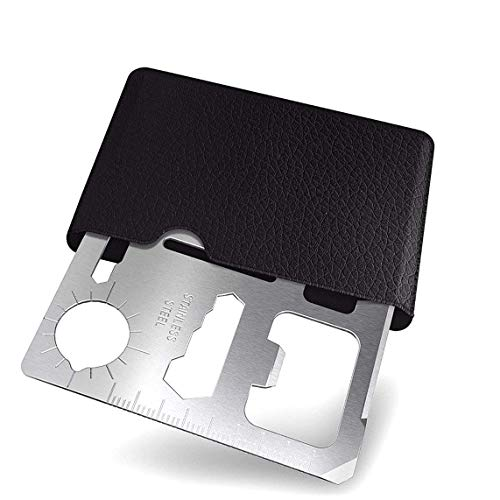 11-Function Stainless Steel Survival Pocket Tool, Beer Bottle Opener Portable Wallet Size Credit Card Multi tool,Great Gifts for Mens (Silver) ()