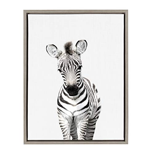 (Kate and Laurel Sylvie Baby Zebra Animal Print Portrait Framed Canvas Wall Art by Amy Peterson, 18x24 Gray)