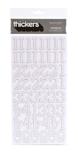 (American Crafts Thickers Glitter Chipboard Numbers Stickers, Sprinkles White )