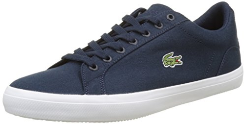 Lacoste Men Lerond BL 2 Canvas Lace up Trainer White Blue