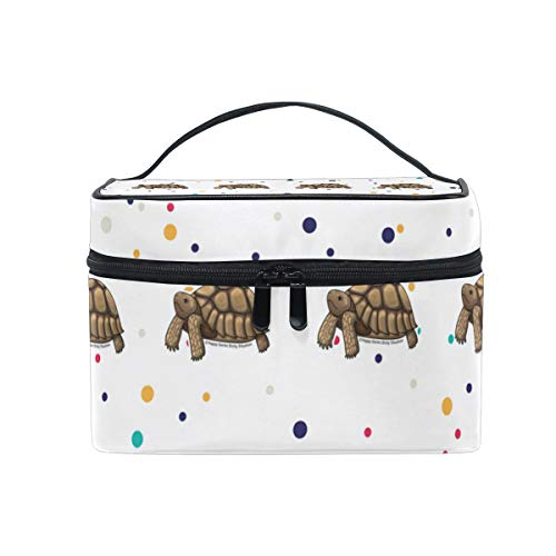 (Sulcata Tortoise Cosmetic Bags Organizer- Travel Makeup Pouch Ladies Toiletry Train Case for Women Girls, CoTime Black Zipper and Flat Bottom)