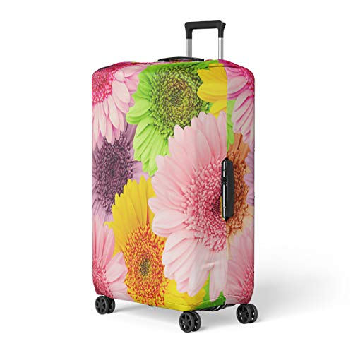 Semtomn Luggage Cover Colorful Gerbera Gerber Flower Green Beautiful Blossom Botanical Bright Travel Suitcase Cover Protector Baggage Case Fits 18-22 Inch