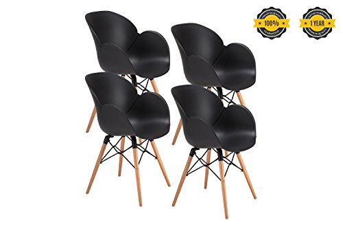 41kgWztURQL - OTTITI-FLOWER-Dining-Chairs-Eames-Style-modern-Mid-Century-Dining-Room-Chairs-Wood-Legs-Lounge-Arm-Chairs-Set-of-4-Black-4P