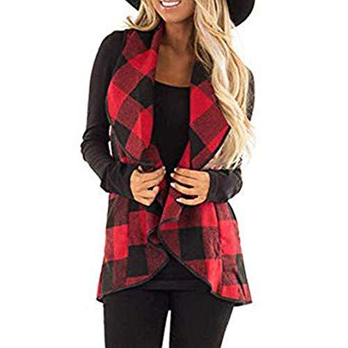 (Women's Coats Winter Besde Women's Fashion Casual Warm Lightweight Outwear Vest Plaid Sleeveless Lapel Open Front Cardigan Sherpa Jacket)