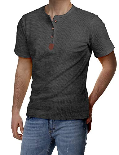 H2H Mens Premium Fitted Short-Sleeve Contrast Color Stitching T-Shirt CHARCOAL US L/Asia XL ()