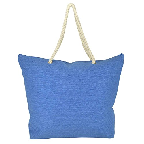 DALIX Elegant Woven Canvas Tote Bag w/Rope Handle (Light Blue, Grey, Red, Navy Blue)