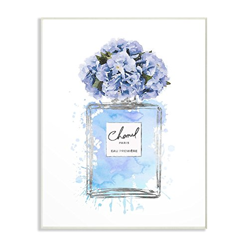 - The Stupell Home Decor Collection Blue Flowers Perfume Bottle Watercolor Wall Plaque Art, 13x19, Multicolor