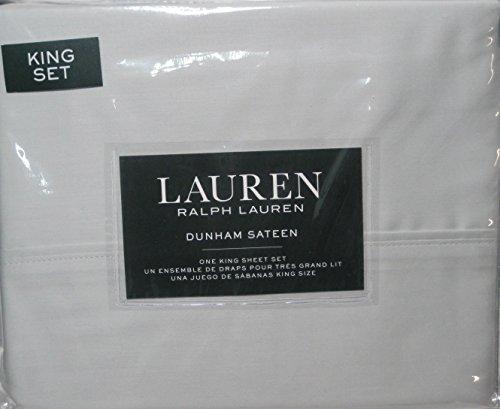 Ralph Lauren 4pcs KING Sheet Set Dunham Sateen--- Silver (Light Gray)