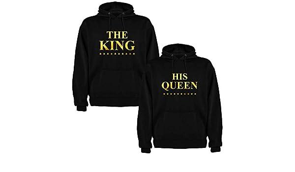 Pack de 2 Sudaderas Negras para Parejas, The King y His Queen, Dorado: Amazon.es: Ropa y accesorios