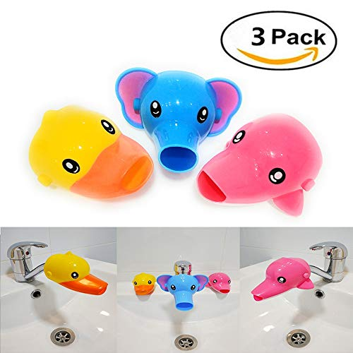 RafaLife Bath Toys - 3Pcs Faucet Extender, Animal Spout Sink Handle Extender for Toddlers Kids, Baby Safe and Fun Hand-Washing Solution, Promotes Hand Washing in Children (Duck, Elephant, Dolphin)