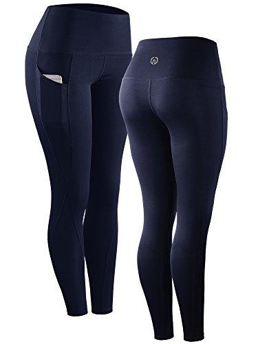 Neleus 2 Pack Tummy Control High Waist Running Workout Leggings,9017,2 Pack,Black,Navy Blue,US S,EU M by Neleus (Image #2)